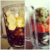 Grapes with Honey and Banana Shake and Celery with Carrots and Cucumber