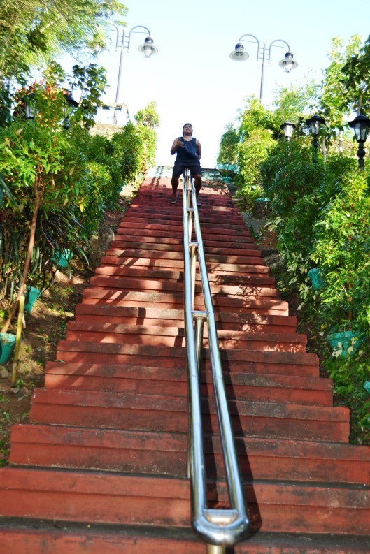 Long Stairway going at the top Rizal Hill.
